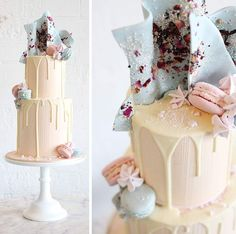 Everything about this Sweet Bloom Cakes design is perfection, from the colour combinations to the detailed adornments. Neutral colours are always popular with weddings and the baby blue topper is a perfect and completely unique way to finish off such an attractive wedding cake.