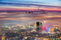 Moscow under clouds. This weather occurs just a few times a year. After the severe cold comes warm cyclone and is gradually replacing the icy air of the city. On the ground is not visible, but on the Astankino tower the beauty can be seen.