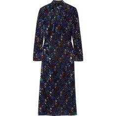 Prada Metallic fil coupé chiffon turtleneck midi dress ($4,040) ❤ liked on Polyvore featuring dresses, gowns, blue, metallic blue dress, metallic slip dress, blue midi dress, chiffon dress and blue slip dress