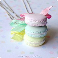 macaron candy colors - colar/pin 2 em 1
