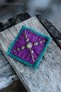 Teal Green and Violet textile brooch with by EnelinPedak on Etsy