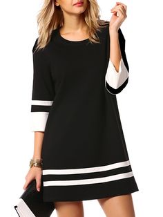 Chic Round Neck Assorted Colors Shift-dress