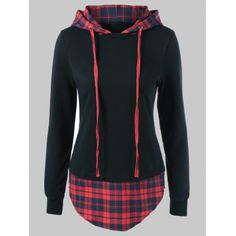 Plus Size Plaid Trim Drawstring Hoodie - color size Stylish Outfits, Cute Outfits, Sport Mode, Cardigan En Maille, Plaid Hoodie, Blue Hoodie, Plus Size Hoodies, Diy Kleidung, Hoodie