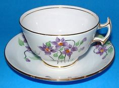 Cup And Saucer Hand Painted Violets 1920s Staffordshire Bone China