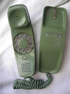 "Vintage ""Slim-line"" Green rotary telephone, Telephone Vintage, Vintage Phones, Antique Phone, Retro Phone, Old Phone, Vintage Love, Portable, Rotary, Childhood Memories"