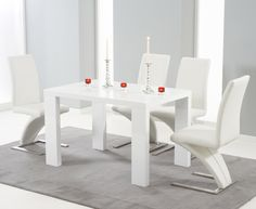 Hereford White High Gloss Dining Set with 2 Green Malibu Chairs