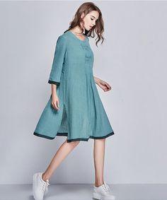 Linen Tunic Dress Tunic Top loose linen shirt / by camelliatune