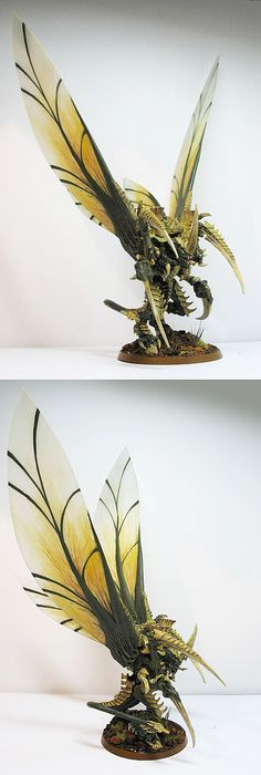 """Warhammer 40k - Winged Hive Tyrant (Tyranids), really dramatic custom wings on this """"Flyrant"""""""
