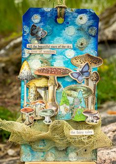 Layers of ink - Magical Gnome Forest Tutorial by Anna-Karin Evaldsson. The forest was created with stamps and a stencil by Simon Says Stamp, Ranger Stickles and Tim Holtz ephemera. Fairy Tale Forest, Create A Fairy, Bottle Painting, Bottle Art, Ranger Ink, Distressed Painting, Ink Pads, Puzzle Pieces, Card Tags