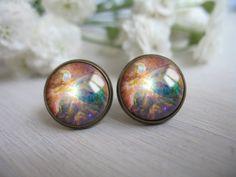 galaxy stud earrings galaxy jewelry space earring by Pendalle