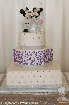 "Design W 0539 | Fondant Wedding Cake | 12"" Square + 9"" Hexagon + 6"" Round 
