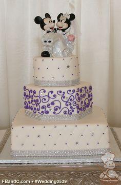 "Design W 0539 | Fondant Wedding Cake | 12"" Square + 9"" Hexagon + 6"" Round | Serves 110 | Quilted pattern with rhinestones & scrolls; rhinestone band | Custom Quote"