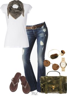 """Hello Spring"" by tmlstyle on Polyvore  I love a plain white T or tank with jeans."