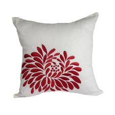 Rojo flor almohada cubierta bordado de flores de lino por KainKain