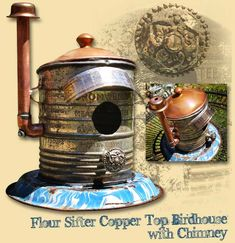 GadgetSponge Upcycled, Recycled Flour Sifter Copper Top Birdhouse with Chimney