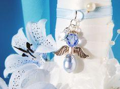Something Blue Wedding Bouquet Charm, Swarovski Crystal Angel Bridal Bouquet Charms, Bridal Shower Gift Wedding Bouquet Charms, Bridal Bouquet Blue, Wedding Bouquets, Charms Swarovski, Swarovski Crystals, Angel Bridal, Something Blue Bridal, Blue Pearl, Bridal Shower Gifts
