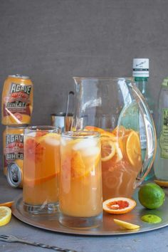 White sangria recipe - use wheat beer or white wine and vary the fruit according to the choice of beer style or wine varietal. Sangria Pitcher, Sangria Drink, White Wine Sangria, Red Wine, Summer Drink Recipes, Sangria Recipes, Sparkling Lemonade, Wine Varietals, Wine Making Kits
