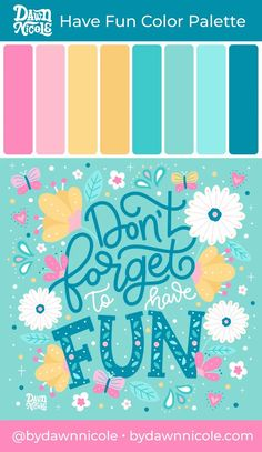 Universidad Ideas, Dawn Nicole, Hand Lettering For Beginners, Cool Lettering, Colour Pallette, Color Swatches, Color Inspiration, Illustrations, Color Schemes