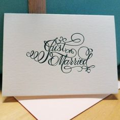 Paper Mill Designs Letterpress Calligraphy Just Married 300x300 Stationery Show Sneak Peek   Paper Mill Designs