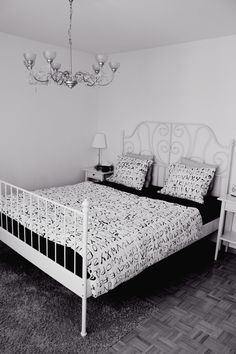 My bedroom in black and white. The bed and the side tables are from IKEA. #Hemnes #Leirvik #Bedroom