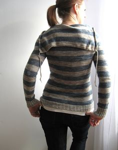 stripey sweatshirt sweater.  with hood. linen blend.