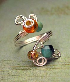 Wire Wrapped Ring Turquoise Amber Ring Adjustable Ring Wirework Art Jewelry