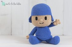 Pocoyo fue creado con Katia Alabama (105m. – 50% Acrílico 50% Algodón – Agujas 3.5-4 mm.) Crochet Hats, Knitting, Pattern, Cotton, Afghans, Baby, Cute Crochet, Hat Crochet, Crochet Projects