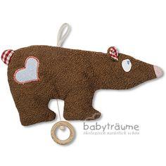 Spieluhr Braunbär mit Herz, kbA-Baumwolle