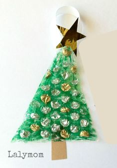 Kid Made Christmas Ornament Using Bubble Wrap