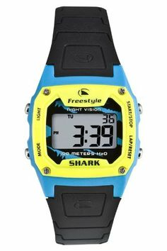 Freestyle Shark Classic, Yellow/Blue, Black PU Strap Watch by Freestyle. Save 36 Off!. $34.93. 100 Meters H20. Stopwatch with split screen function. Countdown heat timer. Durable Polyurethane Strap. Time/Day/Date. 2 Alarms. NightVision Backlight Display. Features:  Band: Polyurethane.  Bezel: Yellow/Light Blue.  Case: Stainless Steel.  Dial: Grey.  Size: Unisex.  Special Features: Countdown Heat Timer, Nightvision Backlight Display, 2 alarms, Stopwatch w/Split Screen.  Subm...