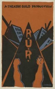 poster by set designer Lee Simonson for Theatre Guild production of R.U.R.