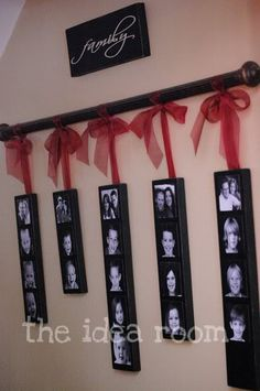 This could be a great gift for  grandparents ... each of their children and their spouses  kids! Make with wood, paint, photos, and mod-podge...and ribbon and the curtain rod...maybe its not quite ten bucks and under but it is still a cute and relatively cheap idea for that person who has everything.