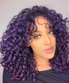 hairstyles using straightener boy's with curly hair hairstyles for ladies over 60 hairstyles for 10 year olds hairstyles with bangs 2019 hairstyles to try curly hairstyles curly hairstyles for work Dyed Curly Hair, Colored Curly Hair, Curly Purple Hair, Updo Curly, Curly Girl, Medium Curly, Medium Hair Styles, Curly Hair Styles, Long Curly