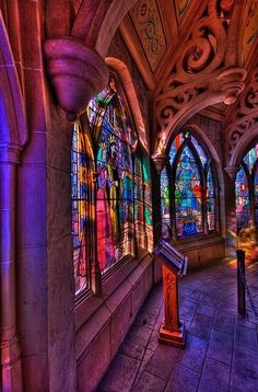 Stained glass windows in Sleeping Beauty's castle, Disneyland Paris