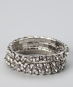 Silver & rhinestone stretch bracelet - $11.99