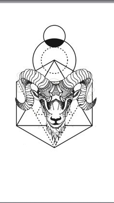 Best Geometric Tattoo - Geometric animal tattoo Aries ram - geometric background...