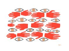 Barrier Spell . Print // Hands & Eyes Pattern Illustration
