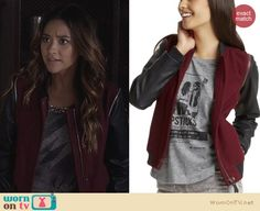 Emily's red jacket with black leather sleeves on Pretty Little Liars. Outfit Details: http://wornontv.net/25907 #PrettyLittleLiars #fashion