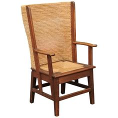 Scottish Oak Orkney Island Wingback Chair With Handwoven Straw Back Lawn Chairs, Club Chairs, Outdoor Chairs, Side Chairs, Leather Wingback Chair, Wood Arm Chair, Wingback Chairs, Chair Upholstery, Chair Fabric