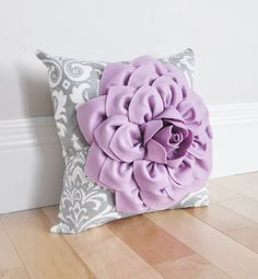 Damask Nursery Pillow. Lilac Purple Dahlia Flower on Gray and