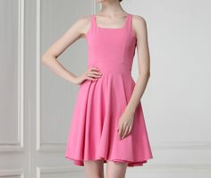 $8.21 -- Solid Color Square Collar Sleeveless Ladylike Syle Polyester Dress For Women (PEACH RED,L)