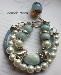 Items similar to chunky charm bracelet, blue bracelet, multi strand bracelet, pearl bracelet, aquamarine bracelet.....Aquatic Moon on Etsy