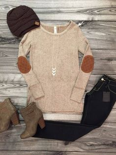 Elbow Patch Hacci Top