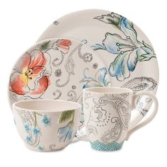 Fitz and Floyd Paisley Park Floral 4 Piece Place Setting & Reviews | Wayfair