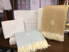 Beautiful monogrammed blankets from Monograms off Madison