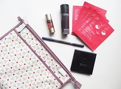 What I've been loving this month in beauty - Rodial Dragon's Blood Eye Masks, Clarins Self-Tan, Mac Prep+Prime, Eye Of Horus Eyeliner, Green People Powder, Victoria Green toiletry bag