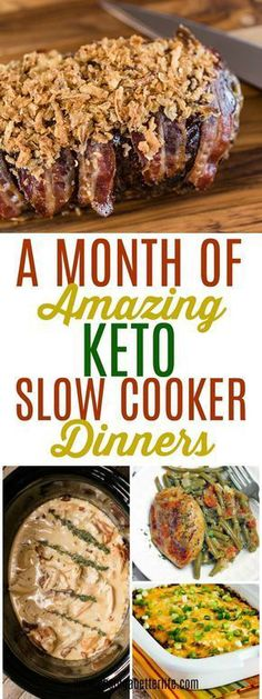 These 30 slow cooker recipes are THE BEST! I'm so glad I found these great meals! Now I can easily follow keto even while busy and still eating well and losing weight! Definitely pinning! #cleaneating #healthy #healthyfood paleo diet crockpot