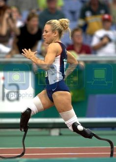"""Shea Cowart Council, winner of the 100 meter & 200 meter gold medals at the 2000 Paralympics in Sydney, Australia (Now the mother of two """"golden children"""".)"""