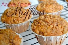 An easy recipe for moist and delicious Apple Spice Muffins topped with a buttery crumb topping.