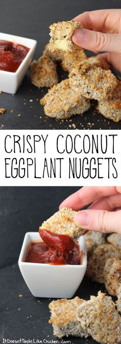 Crispy Coconut Eggplant Nuggets! Even eggplant haters love this recipes. A great vegan and vegetarian appetizer. Gluten free options included. #itdoesnttastelikechicken